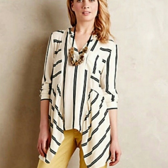 Anthropologie Tops - Anthropologie Maeve Striped Asymmetrical Top 2